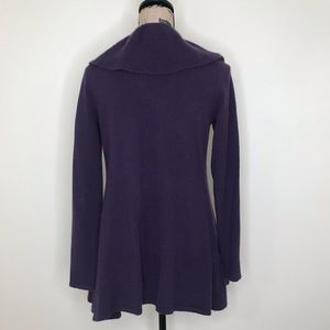 ply cashmere Sweaters - PLY CASHMERE Purple Cashmere Ruffle Cardigan (S)